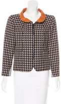 Chanel Leather-Trimmed Jacquard Jacket