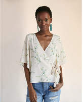 Express floral tie front kimono sleeve top