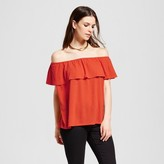 Mossimo Women's Off The Shoulder Knit Top Orange
