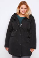 Yours Clothing Black Padded Parka Coat With Quilted Shoulders & Hood