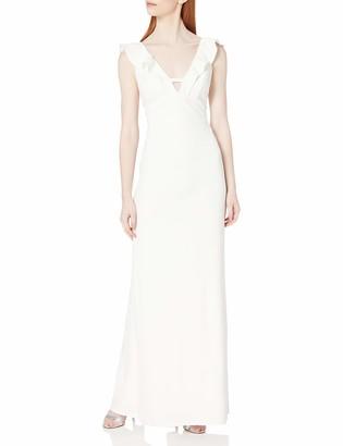 ABS by Allen Schwartz Women's Deep-V Ruffled Gown