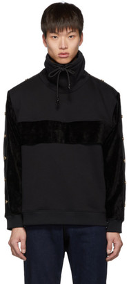 Versace Black Velour Pullover Turtleneck