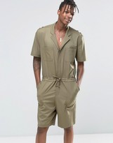 Asos Slim Short Boiler Suit With Military Styling In Khaki