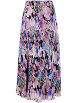 Thumbnail for your product : Ganni Floral-Print Pleated Midi Skirt