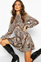 boohoo Mixed Animal Print Ruffle Neck Smock Dress