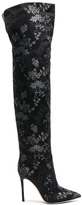Gianvito Rossi Embroidered Silk Rennes Thigh High Boots in Black,Floral.