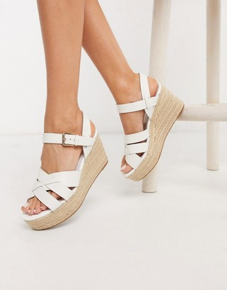 Aldo Meresha wedge espadrille sandals in white
