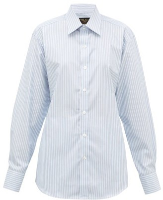 Emma Willis Supraluxe Hairline-striped Cotton-poplin Shirt - Blue White