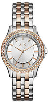 Armani Exchange Rose Gold-Tone Double Pav Crystal Analog Watch