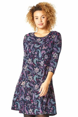 Roman Originals Womens Floral Print Swing Dress - Ladies Autumn Winter Stretchy Shift Dresses Comfy 3/4 Long Sleeve Work Office Day Everyday Casual Outfit Frock - Red - Size 14