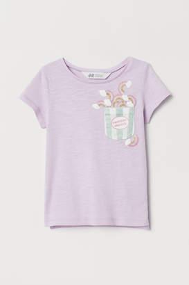 H&M T-shirt with Applique - Purple