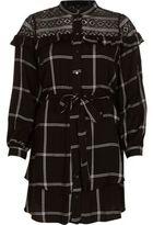 River Island Womens Black check lace yoke belted shirt dress