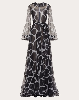 Valentino Printed Organza Evening Dress Women Ivory/black Silk 100% 44