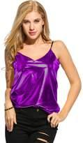 Romanstii Women's Shiny Metallic Liquid Wet Look Vest Top Camisole...