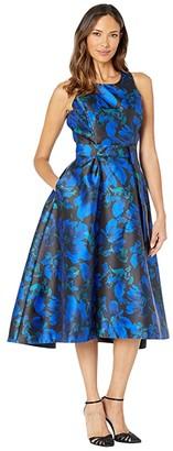 Tahari ASL Sleeveless Printed Jacquard Midi Dress (Black Royal Jacquard) Women's Dress