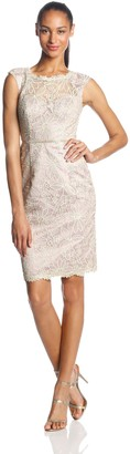JS Collections Women's Embroidered Mesh Illusion Boatneck Sheath Dress