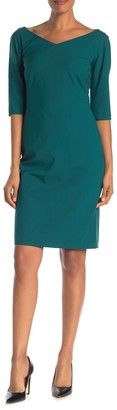 Lafayette 148 New York Alexia V-Neck Wool Blend Sheath Dress