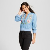 Flying Tomato Women's Embroidered Chambray Bomber Jacket Juniors') Blue
