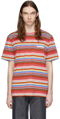 Missoni Red and Multicolor Striped Logo T-Shirt