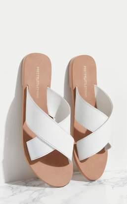 PrettyLittleThing White Leather Cross Strap Sandal