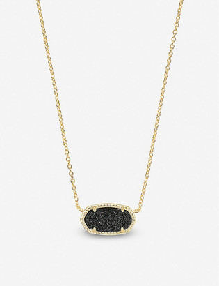 Kendra Scott Elisa 14ct gold-plated and blue drusy stone necklace