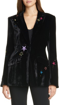 Cinq à Sept Estelle Embroidered Velvet Blazer