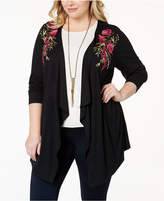 INC International Concepts I.n.c. Plus Size Embroidered Draped Cardigan, Created for Macy's