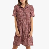 La Redoute Collections Printed Mini Shirt Dress with Short Sleeves