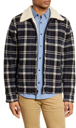 Schott NYC Faux Shearling Lined Plaid Wool Blend Jacket