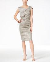 Connected Petite Metallic Draped Sheath Dress