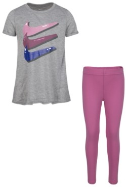Nike Little Girls 2-Pc. Triple Swoosh T-Shirt & Bubble Leggings Set