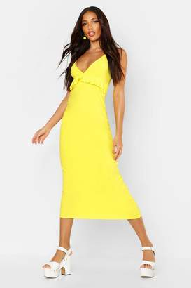 boohoo Jersey V Neck Ruffle Maxi Dress