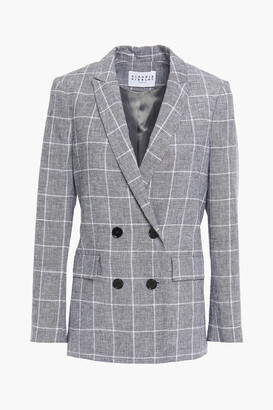 Claudie Pierlot Double-breasted Checked Linen And Cotton-blend Jacquard Blazer