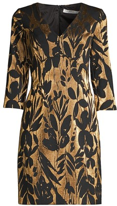 Trina Turk Eastern Luxe Muni Jacquard Metallic Sheath Dress