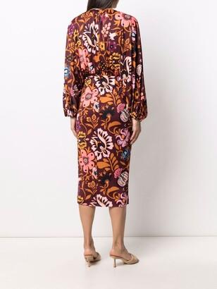 La DoubleJ Floral Long-Sleeve Shift Dress