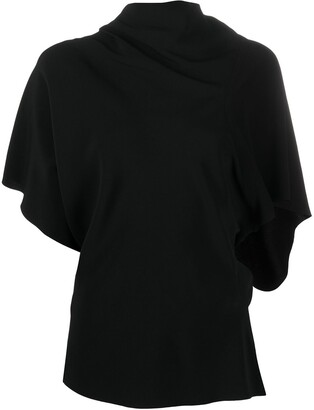 Rick Owens Short Sleeve Draped Neck Top