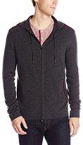 John Varvatos Men's Zip Front Hoody Sweater with Tonal Rivet Patches