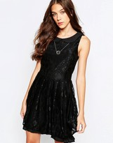 Yumi Skater Dress With Peter Pan Collar And Lace Trim