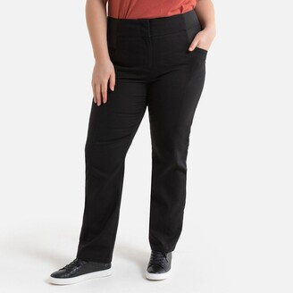 """La Redoute Collections Plus Cotton Straight Trousers, Length 30.5"""""""