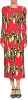 Dolce & Gabbana Long-Sleeve Snap-Pea Print Mid-Calf Dress