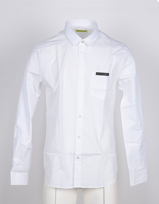 Versace White Cotton Men's Shirt w/Front Pocket