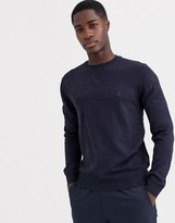 French Connection plain logo crew neck knit jumper-Navy