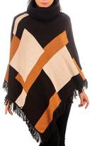 Black Geometric Cashmere and Wool Poncho