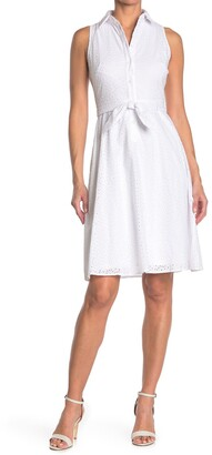 London Times Embroidered Eyelet Sleeveless Tie Waist Shirt Dress