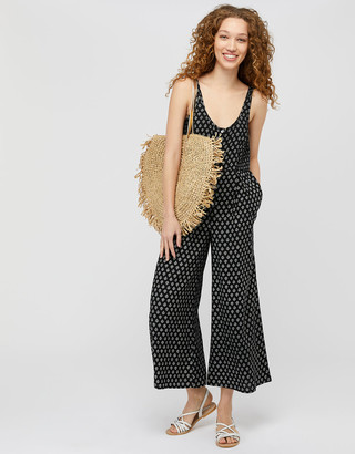 Monsoon Helena Heritage Printed Jumpsuit in LENZING ECOVERO Black