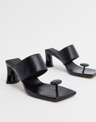 ASOS DESIGN Holiday premium leather toe post mid-heeled sandals in black