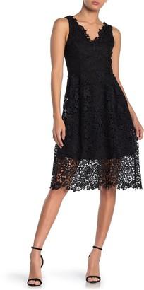 ASTR the Label V-Neck Lace Fit & Flare Dress
