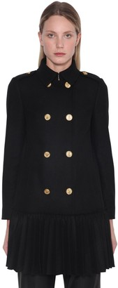 RED Valentino Pleated Wool Blend Midi Coat