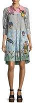 Peter Pilotto Patchwork Colorblock Gingham Shirtdress, Multi