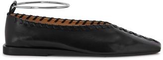 Jil Sander Black Whipstitched Leather Flats